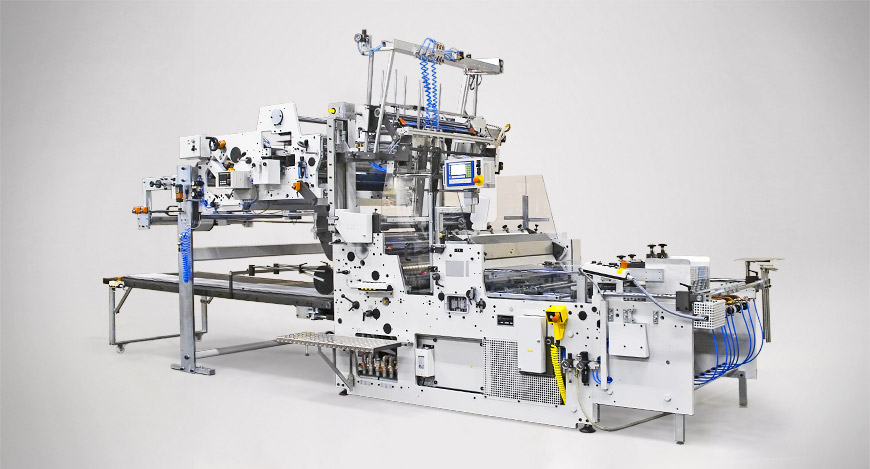 Proliner with V-notch/hot creasing unit and Pick, Square and Place feeder.